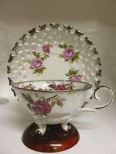 Fred Roberts Company Teacup Sauer Set Silver w/ Pink Rose Pattern Tea Cup China
