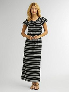 Cute Inexpensive Modest Clothing Stripe Maxi Dress a modest