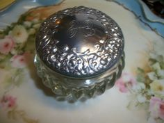 "Houbigant Glass Ribbed Vanity Jar Embossed and Monogram ""H"" Vintage"