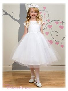 White Flowers Embroidered Satin Bodice Girl Dress