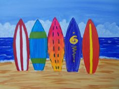 Join us at Pinot's Palette - Woodlands Studio on Sun Jul 2013 for Surf's Up Baby. Seats are limited, reserve yours today! Beach Related Art, Surfboard Art, Camping Art, Paint And Sip, Elementary Art Projects, Painting, Summer Art Projects, Art, Art Party