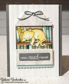 Cat on Bookshelf card by Yukari Yoshioka | Newton's Book Club Stamp set by Newton's Nook Designs #newtonsnook