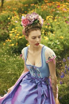 Blue ornamented dirndl