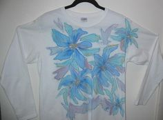 Hand Painted with Turquoise Flowers  Long Sleeved  by heartbridge, $20.00