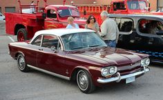 1963 Corvair Monza coupe = Mama used to have a white one with white interior & red pipping! LOVED that car!