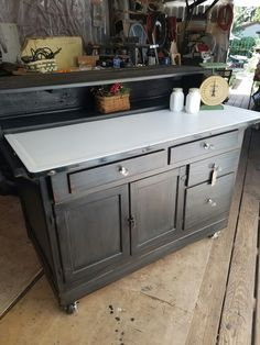 late 1920u0027s hoosier cabinet bottom repurposed into a kitchen island using general finishes queenstown town