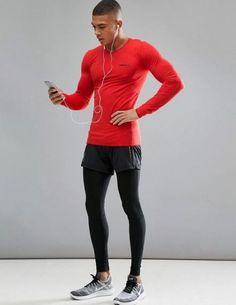 Sportswear Men's Active Comfort Running Top, long sleeve jogging shirt, compression tr Athletic Outfits, Athletic Wear, Sport Outfits, What To Wear Today, How To Wear, Gym Outfit Men, Mens Tights, La Mode Masculine, Hommes Sexy