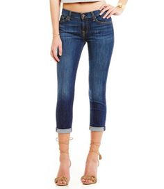 7 For All Mankind Nouveau New York Dark Rolled Jeans #Dillards