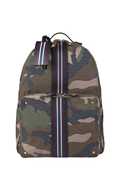 Valentino Garavani backpack with camouflage pattern, leather striples panel, top handle and adjustable shoulders straps