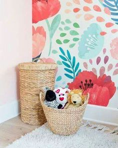 Wallpaper accent wall bedroom ideas interiors ideas for 2019 Diy Deco Rangement, Do It Yourself Design, Wallpaper Decor, Bold Wallpaper, Colorful Wallpaper, Wallpaper For Girls Room, Kids Wallpaper, Mobile Wallpaper, Accent Wall Bedroom