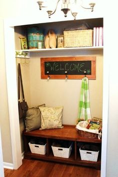 dearly loved mist: Entryway Closet - still functional, with a library books basket.