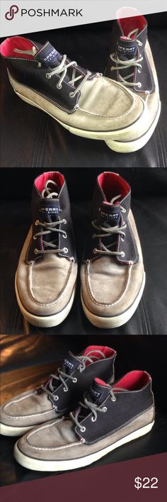 Speedy high tops size 11 great for the outdoors !! These are black and gray with interior red Sperrys are a great addition to any Sperry collection and they are rare. They are still good rubber bottom shoes that have more miles left in them. Will ship in 24 hours and buyer protection guaranteed!! Sperry Shoes Boat Shoes