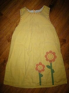 Girl's ORIENT EXPRESSED Size 3 Dress Jumper Yellow Sunflower Fall Corduroy
