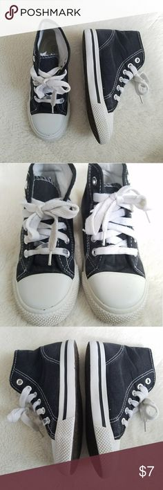 🆕High Top Sneakers Pair of black with white high top sneakers in boy's size 13. These were worn by my son, and he wore these quite a bit. I've washed them and the laces. They've cleaned up well! There's still plenty of life left in them! Shoes Sneakers