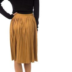 Pleated Suede Midi Skirt - Fashion Union