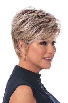 The Prestigious Heat Friendly Synthetic Wig by Toni Brattin features short and natural classic hair styling with subtle layering and tapered edges. The custom fit cap easily adjusts to most any head size. With the look and feel of healthy, natural hair. Short Grey Hair, Short Hair Wigs, Short Hair With Layers, Short Hair Cuts For Women, Short Hairstyles For Thin Hair, Short Choppy Haircuts, Short Textured Hair, Long Hairstyle, Short Wavy