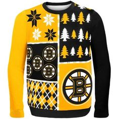 KLEW NHL Boston Bruins Busy Block Ugly Sweater fa2513f02