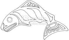 Pacific Northwest salmon line drawing royalty free pacific northwest salmon line drawing stockvectorkunst en meer beelden van brits-columbia Native Indian, Native Art, Native American Art, Inuit Kunst, Inuit Art, Vancouver, Atelier D Art, Haida Art, Aboriginal Art