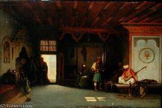 'intérieur d'un `oriental` café' de Charles Théodore Frère (1814-1886, France)