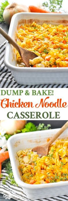 This Dump-and-Bake Chicken Noodle Casserole is a healthy dinner recipe for busy nights! Chicken Breast Recipes | One Dish Meals | Easy Dinner Recipes | Dinner Ideas