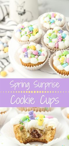 "These Spring Surprise Cookie Cups are the perfect Easter dessert! They have a cookie dough base with a yummy ""surprise"" inside, then they are topped with gooey marshmallows, spring colored M Spring Recipes, Easter Recipes, Holiday Recipes, Easter Desserts, Easter Ideas, Holiday Foods, Easter Crafts, Cookie Cups, Cookie Dough"