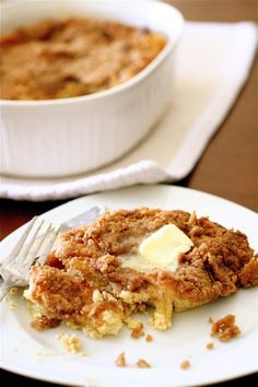Baked cinnamon french toast.  Sounds yum. Might lighten up with skim milk.
