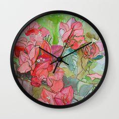 Caribbean Bougainvillea Wall Clock