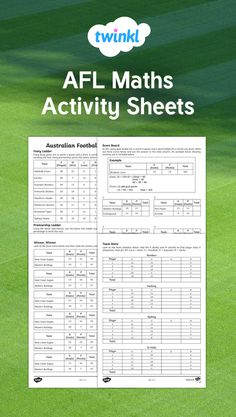 Put your AFL knowledge to the test with these maths-based footy activity sheets! Students will need to work out scores, order teams and work out winning margins. This will really challenge students in an engaging way! Australian Football League, Activity Sheets, Math Activities, Maths, Scores, Worksheets, Students, Knowledge, Challenges