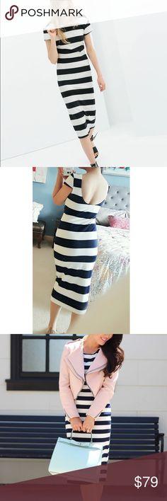 Zara Midi Striped Dress Super cute with low scoop back. Dark dark navy stripe. Zara Dresses Midi