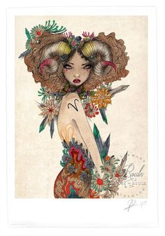 """Aries"" by Olivia Rose - Limited Edition, Archival Print - 13 x 19 Arte Aries, Aries Art, Zodiac Art, Zodiac Signs, Aries Zodiac Tattoos, Aries Astrology, Aries Aesthetic, Aries Birthday, Aries Season"