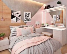 How to decorate a small youth room, decoration of small rooms . - How to decorate a small youth room, decoration of small rooms, how to decorate a small room, ideas f - Pastel Bedroom, Pink Bedroom Decor, Small Room Bedroom, Bedroom Themes, Bedroom Colors, Small Rooms, Bedroom Wall, Diy Bedroom, Bedroom Lamps