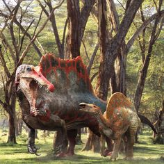 Spinosaurus and Ouranosaurus. by Vitamin Imagination., Vitamin Imagination on ArtStation at https://www.artstation.com/artwork/la26a