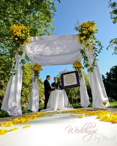 yellow flowers & chuppah
