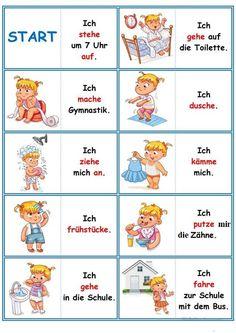 Games in German lessons: Domino - the daily routine Study German, Learn German, German Grammar, German Words, Deutsch Language, Kindergarten Portfolio, Germany Language, Autism Education, Routine Chart