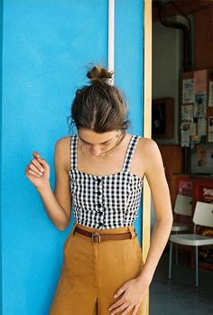 Chic & Classic | Gingham & Mustard Yellow | High waisted trousers and tank top