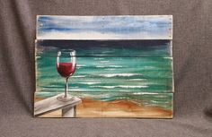 Painted Pallet Red Wine beach painting, pallet beach wall art, Beach Chair, upcycled, Handmade Seascape horizon, ocean, Distressed, shabby