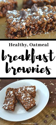 This healthy twist on breakfast brownies will knock your socks off! If you are looking for healthy breakfast recipe ideas, you must try these flourless, dairy free, chocolate baked oatmeal bars. Easy healthy breakfast brownies for kids. #livigninhappyplace #backtoschool #HealthyBreakfast #breakfast #chocolate #oatmeal #brownies #HealthyBreakfastIdeas#food #recipes