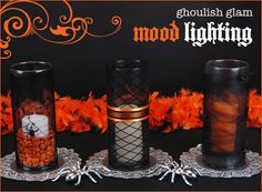 Candlelight is a great way to create both a spooky and festive ambiance to any Halloween party. For a 'Ghoulish Glam' Halloween theme, try dressing up standard glass cylinders with lacy, gothic-inspired textiles like spiderweb stockings, black fishnets, and black tulle. It only takes a minute (literally!) and these make fantastic Halloween-themed holders for pillar candles... You can usually get at least 4 'slip covers' from one pair of nylons if you're using 12' cylinders, and even more for…