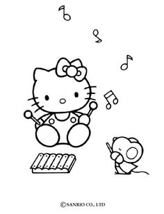 FREE Hello Kitty Musical Coloring Pagesmaybe Print Out And Bring Crayons To