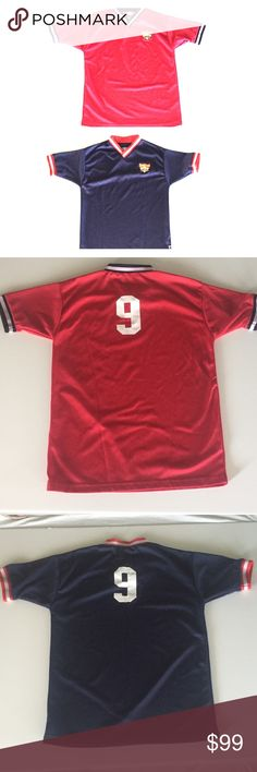 "2 Cooperstown Little Majors Dreams Park #9 Jerseys 97% Polyester/ 3% Spandex. Size is Adult Medium.  Approximate Measurements (unstretched, measured flat):  Red #9 Chest - 19.5"" armpit to armpit Shoulder width - 18"" Length- 27"" #9 is bubbled just a bit - received that way (see last pic)  Blue #9 Chest- 19.5"" armpit to armpit Shoulder width- 18.5"" Length - 26.5""  Elastic on neck has curled just a bit in a small area (shown in last pic). Not noticeable when wearing, in my opinion. Only noticed…"