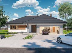 Projekt domu Padme 3 WZ 145,31 m2 - koszt budowy - EXTRADOM House Plans Mansion, Bungalow House Plans, Modern House Plans, Construction Design, Architectural Design House Plans, Architect House, Home Design, Exterior Design, Building A House