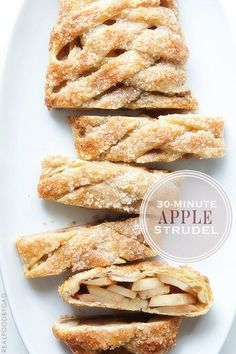"""APPLE STRUDEL - """"if you are tired of apples, try swapping out the apples and cinnamon for pears and cardamom, or persimmons with cinnamon and Grand Marnier."""" dessert recipe - My WordPress Website Easy Apple Strudel Recipe, Strudel Recipes, Pastry Recipes, Baking Recipes, Real Food Recipes, Apple Strudel Puff Pastry, Apple Recipes With Puff Pastry, Dutch Recipes, Apple Desserts"""