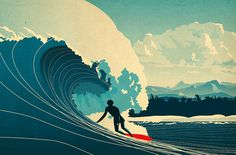 Riding the Californian wave - Surf illustrated by Matt Richards