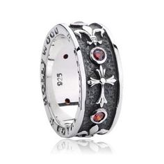 925 Sterling Silver Chrome Hearts Cross Gemstones Ring For Men