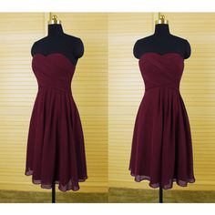 Simple Dark Red Short Chiffon Bridesmaid Dress (105 CAD) ❤ liked on Polyvore featuring dresses, dark olive, women's clothing, purple bridesmaid dresses, short bridesmaid dresses, cocktail prom dress, prom dresses and women dresses