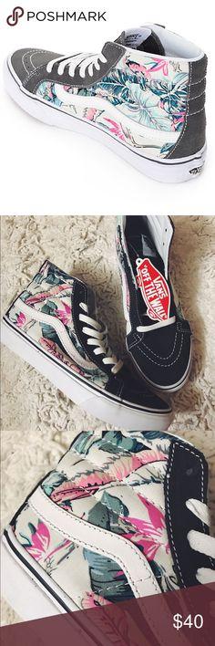 Vans Sk8 Slims Tropical Grey Vans Sk8 Hi Slim Tropical Grey, NEVER BEEN WORN OR LACED, TAGS STILL ON! size 7.5 women's, 5.5 men's Vans Shoes Sneakers