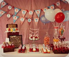 Cant decide this theme Red Blue Vintage Circus Party or Robot party for Jacob's bday Vintage Circus Party, Circus Carnival Party, Circus Theme Party, Carnival Birthday Parties, Carnival Themes, Circus Birthday, First Birthday Parties, Birthday Party Themes, Boy Birthday
