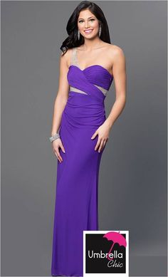 Shop one-shoulder formal dresses at Simply Dresses. Floor-length purple gowns with beaded sheer-illusion mesh and sweetheart necklines for prom. One Shoulder Formal Dresses, Cut Out Prom Dresses, Semi Formal Dresses, Prom Dresses For Sale, Plus Dresses, Junior Dresses, Homecoming Dresses, Strapless Dress Formal, Purple Gowns