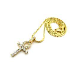 """Women's Rhinestone Ankh Cross Pendant 2mm 18"""", 20"""" Box Chain Necklace in Gold Tone (2mm 20"""" Box Chain). Women's Rhinestone Ankh Cross Pendant 2mm 18"""", 20"""" Box Chain Necklace in Gold Tone. Size of Pendant: 0.75"""" X1.6"""". Chain: 2mm 18"""", 20"""" Box Chain. Imitation Gold Tone Plated. Fashion Costume Jewelry."""
