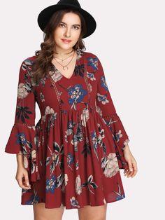 34214c914c Shop Plus Dot Lace Insert Floral Fit & Flare Dress online. SheIn offers Plus  Dot Lace Insert Floral Fit & Flare Dress & more to fit your fashionable  needs.